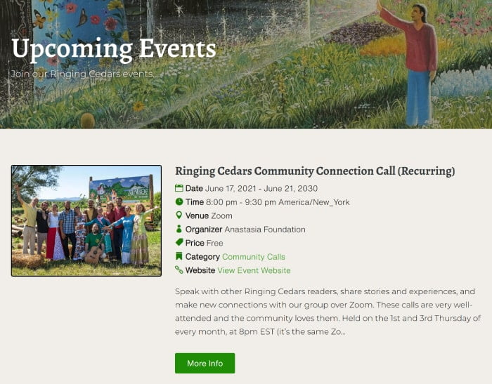 Ringing Cedars Events Ringing Cedars of Russia USA + Canada, Anastasia USA