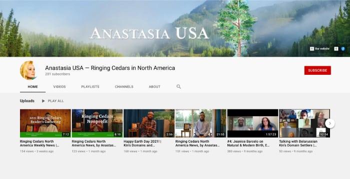 YouTube channel Ringing Cedars of Russia USA + Canada, Anastasia USA