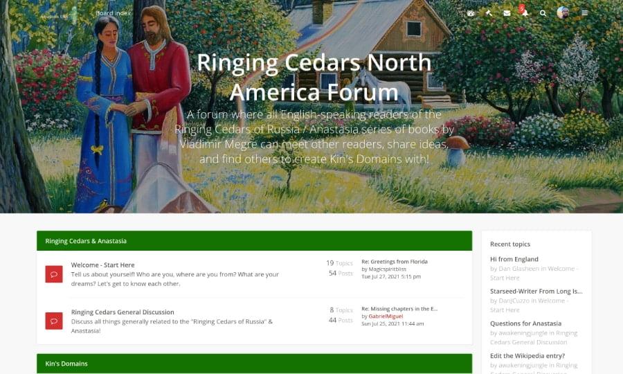 Forum screenshot Ringing Cedars of Russia USA + Canada, Anastasia USA